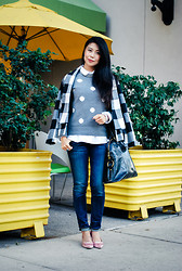 Goodbadandfab Girl - Gap Polka Dot Sweater, Bb Dakota Checkered Jacket, Citizens Of Humanity Patina, Yves Saint Laurent Muse Large Domed Satchel Bag, Black - Fall in love with layers!