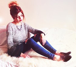 Nesairah Nesstyle - Choies Sweater, Choies Jeans - GREY & DARK BLUE