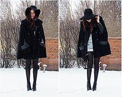Jolie O - H&M Hat, Second Hand Cape, Jeffrey Campbell Cambell Lita - Cause baby it's cold outside