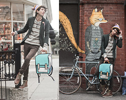 Bobby Raffin - Yesstyle Fitted Blazer, Gypsy Sale Winter Sweater, Jump From Paper Spaceman Backpack, H&M Brown Boots - Wonder Emporium
