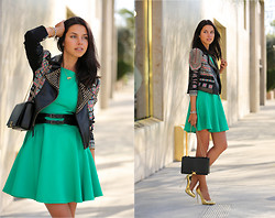 Annabelle Fleur - Ted Baker Dress, Bcbg Jacket, Giuseppe Zanotti Heels, Giorgio Armani Bag - GOING GREEN
