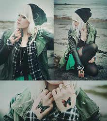 Kerti P. - Beanie, Parka, Frontrowshop Plaid Shirt, Chemjoy.Com Skull Necklace, House Skirt, Rings - Paint butterflies in my mind.