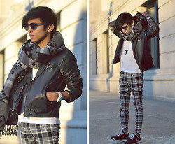 Mc kenneth Licon - Loft82 Scarf, H&M Biker Faux Leather Jacket, Zara Checked Pants, Nike Runners - Winter Sunset