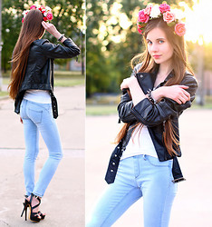 Ariadna Majewska - Xin Lu Black Strap Sandals, H&M Black Leather Jacket, Handmade By Me Floral Crown, Stradivarius Denim Pants, H&M White Top, Romwe Black Spiked Bracelet - Rock & roses