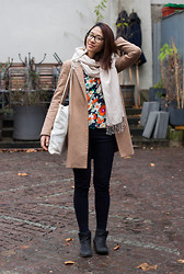 Melanie L - Mango Coat, Tibetan Store Scarf, Sheinside Blouse - Flowers in Winter