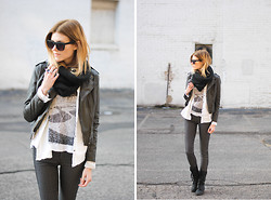 Blair B - 2nd One Denim, Steve Madden Boots, Black Swan Clothing Jacket, Mango Tee - Vertical.