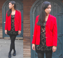 Allyson M - Thrifted Blazer, Forever 21 Lace Dress, Forever 21 Oxford Heels - I'm Feelin' Christmas-y!