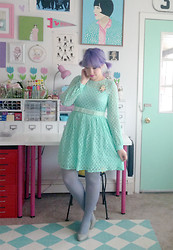 Kate Gabrielle - Asos Mint Dress, Bait Footwear Grey Pumps, Sugar Cookie Wooden Bunny Brooch, From Another Dress Bow Belt, We Love Colors Grey Tights - Mirror mirror on the wall