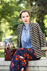 Dareena EE - Mango Blazer, Koton Pants, Furla Bag, Topshop Necklace - Stripes and flowers