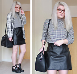 Robyn Mayday - Oasap Houndstooth Top, New Look Faux Leather A Line Skirt, Topshop Arabel Cut Out Boots, Topshop Croc Look Bag, Primark Check Coat - Houndstooth and Checks