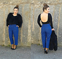 Cátia Barge - Mango Fur Coat, H&M Bodie, Zara Shoes, Barge Pants - Blue Jacquard