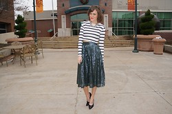 Niki Adams - Forever 21 Top, Asos Skirt, Prada Shoes - Stripes and Sequins.