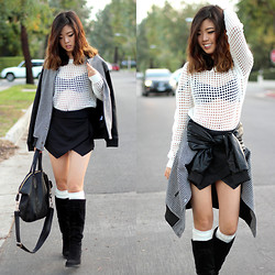Bee S - Zara Skort, Nasty Gal Bag - Houndstooth & Pleather