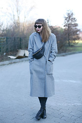 Amelie . - Ray Ban Sunglasses, This Is Early Hipbag, Asos Coat, Acne Studios Jeans, Hope Boots, Chanel Lipstick - Amazed Mag: Hip Bag