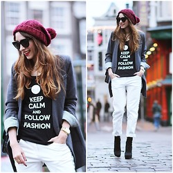 Virgit Canaz - H&M Boyrfriend Jeans, Followfashion Tee, Nowistyle Coat Blazer - Keep Calm and Follow Fashion