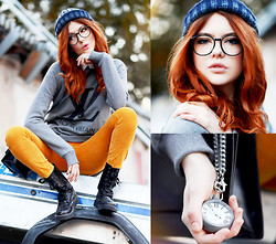 Ebba Zingmark - Minty Jungle Beanie, Admirable Sweater, Candy & Grace Pocket Watch, Rocket Dog Boots, 2hand Pants, Zerouv Glasses - Little Monster