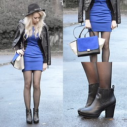 Sammi Jackson - Miss Selfridge Biker Jacket, Choies Blue Contrast Dress, Frontrowshop Trilby Hat, Persun Blue Trapeze Bag, Topshop Alexy Boots - BLUE ON BLUE + (PERSUNMALL GIVEAWAY)