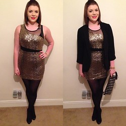 Bethanie Nesbitt - Primark Gold Sequin Dress, Primark Heels, New Look Blazer, Primark Studded Clutch, Primark Black Tights, New Look Gold Flower Bracelet - Christmas Party