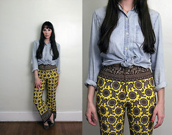 Kennedy Holmes - Vintage Denim Shirt, Kennedy Holmes Etsy Vintage Paisley Bell Bottoms, Vintage Flats - Bless the bell bottom