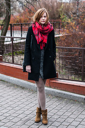 Agnes F - H&M Checked Scarf, Zara Coat, Vila Dress - Checked scarf