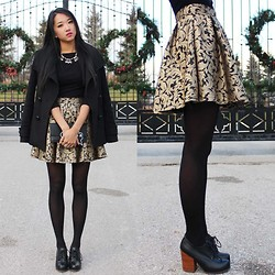 Jeannie Y - T. Babaton Wool Coat, J. Crew Necklace, Jeffrey Campbell Booties, Zara Wallet, Jaquard Skirt - We could be royal