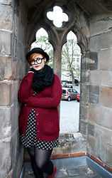 KatyAnna G - Divided Bowler Hat, H&M Round Glasses, New Look 100% Love Sweater, Divided Cross Pattern Dress - Chapel Nerd
