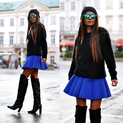 Maya Lorelei - H&M Beanie, Spektre Mirrored Sunglasses, & Other Stories Angora Knit, & Other Stories Neoprene Skirt, H&M Over The Knee Boots - Thigh High