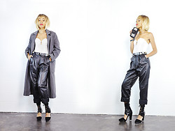Crystal Wood - She Tiger Vintage 80s Leather Pants, She Tiger Vintage 90s Grey Minimal Over Coat, Jeffrey Campbell Black Lace Up Heels, She Tiger Vintage White Lace Bustier - SHETIGER: Leather Luxe