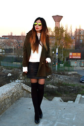 Cassandra Y. Liu - Rosewholesale Quilted Leather Skirts, Udobuy Military Coats, Oasap Mirrored Sunglasses - Sunset