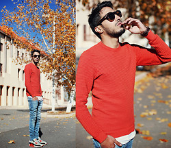 Mohcine Aoki - Quay Eyewear Paradise, Zara Orange Sweatshirt, Cheap Monday Washed Skinny Jeans, Nike Air Max 90 Infrared, Fossil - IFRANE, THE CITY OF LOVE