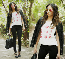 Karla Quinones - Sunglasses Frosted Frame Reflective Lens, Zara Faux Leather Quilted Jacket, Zara Lips Tee, Forever 21 Black Skinny Jeans, Zara Messenger Bag, Shoedazzle Sahara Heels - Red Lips