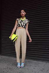 Bianca Venerayan - Auroras & Sirenas Top, Thrift Pleated Pants, No Name Blue Suede Shoes, Kimski Clutch, Kastor & Pollux Necklace - NYFW Throwback #1