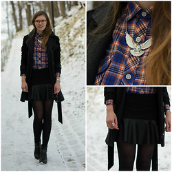 Piia Õ. - Persun Lether Tulip Hem Skirt, Monton Basic Winter Coat, Plaid Shirt - Strong
