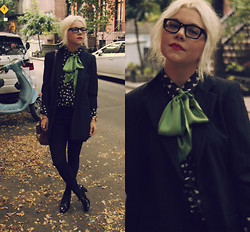 Hannah Riley - My Mom's Blazer, French Connection Uk Shorts, Nine West Oxford Heels, J. Crew Blouse, J. Crew Bow, Warby Parker Glasses, Mulberry Bag - Fallen Leaves