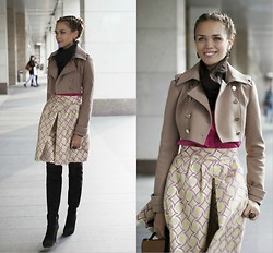 Alena Vorontsova - Moschino Skirt, Elizabetta Jacket, Max Mara Top, Le Silla Boots, Michal Negrin (Israel) Ring, Michal Negrin (Israel) Earrings - Bell-shaped skirt