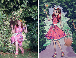 Lilly Pink - D.I.Y. Hair Flowers, Poppy Butterfly Dress, Lillian Gottwald What I Wore Illustration - Garden Swing