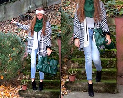 Julia C. - Mango Coat, Scarf, Blank Denim, Heels, Mango Cardigan, Satchel - Spectrum