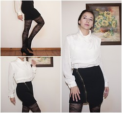 Dalia Fashion - Vintage 80's Blouse, Diy Asymmetrical Skirt, H&M Shoes - Day&Night