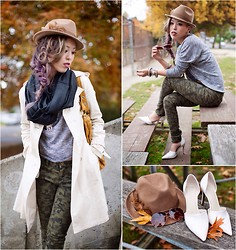 Aika Y - Charlotte Russe Infinity Scarf, Nowistyle Gray Dolman Top, Nowistyle Camouflage Printed Pants, Forever 21 Camel Felt Fedora, Zara Pointed Heels, H&M Sunglasses - Feelin' Safari in Camo