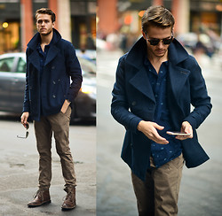 Adam Gallagher - Cotton On Peacoat, Cotton On Alfie Printed Shirt - Eventide