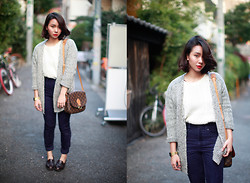 Izumi Nagai - Forever 21 Cardigan, Topshop Cream Sweater, Louis Vuitton Sling Bag, Monki High Waisted Velvet Pants, Leather Loafers, Nyx Perfect Red, Casio Vintage Gold Watch - Clean and Genuine