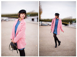 Jessica D - Camaieu Pink Coat, Mulberry Bag, Giuseppe Zanotti Glitter Boots, Asos Dress - Cotton candy