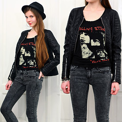 Ariadna M. - Vjstyle Black Quilted Pu Leather Jacket, Frontrowshop The Rolling Stones Black Top, Romwe Grey Denim Pants, Mohito Black Hat - Anybody seen my baby