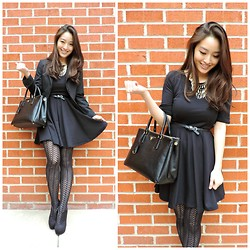 Kimberly Kong - Others Follow Lbd, Deb Booties, Prada Bag, Boss Blazer, Apt. 9 Tights - The LBD: Skater Edition