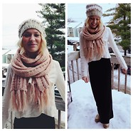 Martha Eelman - Xhilaration Black Maxi Skirt, Free People Cream Military Jacket, Forever 21 Scarf, The Frye Company Veronica Boots, Anthropologie Knit Hat - Winter Land