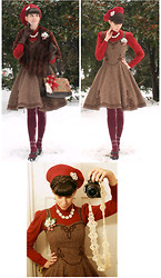 Tyler H - My Own Work Brown Wool Tweed Dress, Antique's Store Vintage Mink Stole, Ebay Burgundy Floral Socks, Naturalizer Brown Heels, Thifted Red Turtleneck, Lisner Vintage Necklace, Lisner Vintage Pin, Lily Of The Valley Sugared Strawberry Corsage, Thrifted Tapestry Purse, Lily Of The Valley Red Roset, Gift Red Beret, Gift Vintage Brown Gloves, Lily Of The Valley Tatted Camera Strap - Winter Tweed and Fur