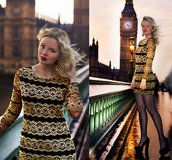 Elin Hansson - New Look Black And Gold Dress, Make Up Store Red Lipstick & Lippencil, Heels, Primark Earrings - ♡ LONDON - BIG BEN ♡
