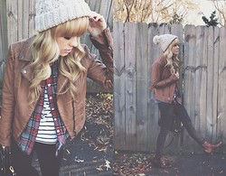 Mary Ellen Skye - H&M Beanie, Cartonnier Vegan Leather Jacket, Madewell Coated Denim, Modernvice Vintage Jett, J. Crew Plaid Shirt, The Sneerwell Oracle Pendent - Beatrix Pearl