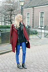 Jint B. - Zara Coat, Costes Leather Vest, Bershka Leather Look Pants, Sacha Buckle Boots - Thin & Thick