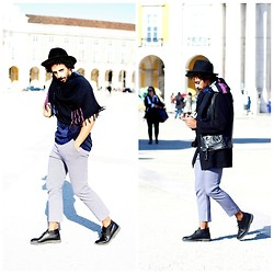 Oli Worlds - H&M Scarf Isabel Marant, Zara Doble Blue Tee, Marni Print Pants, Topman Leather Vest, Sammydress Black Coat, Clarks Leather Boots, Made In Bolivia Hat Hand - BLUE WINTER